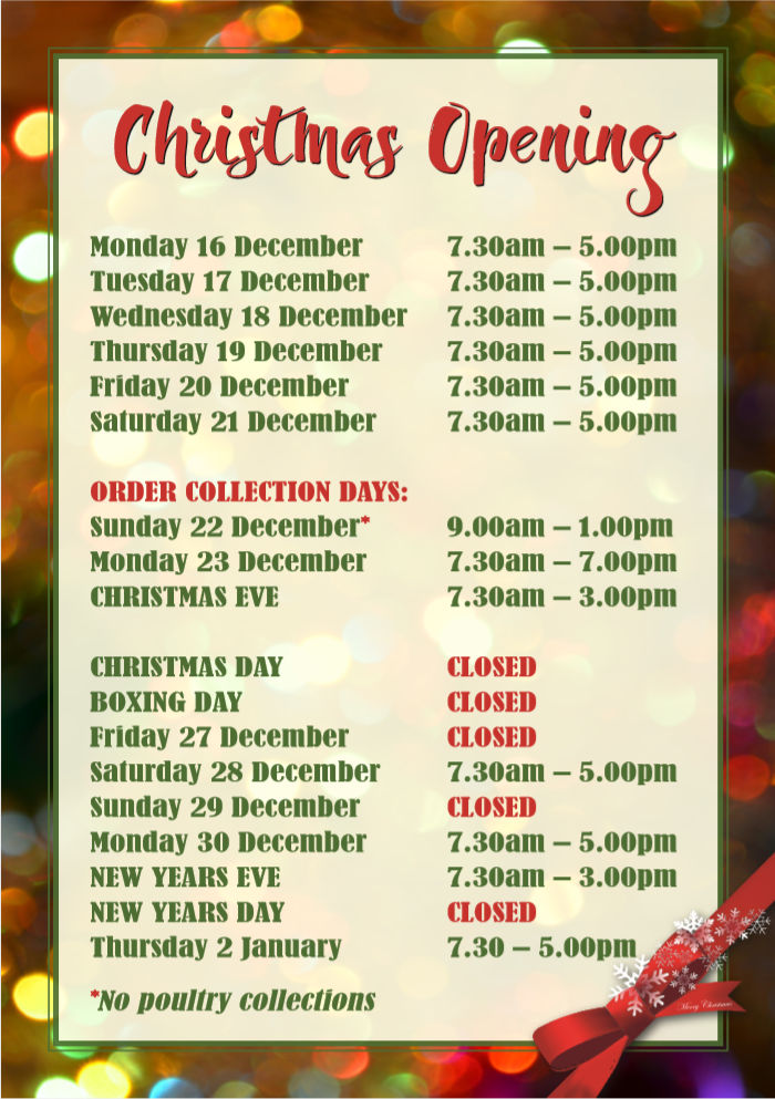 Xmas 2019 opening times